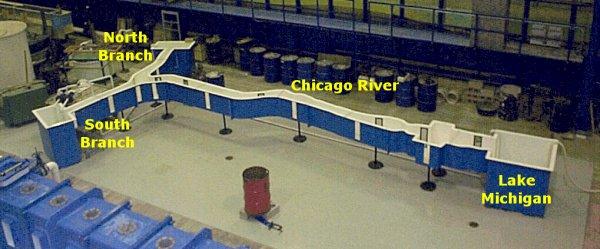 View of Chicago River model basin
